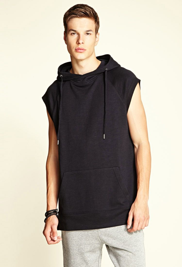 Sleeveless Raglan Hoodie   Menswear, Black cotton sweatshirt, Androgynous  fashion