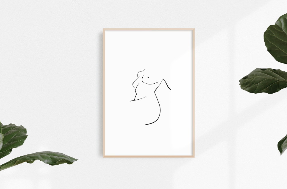Woman figure print Minimal drawing Downloadable female