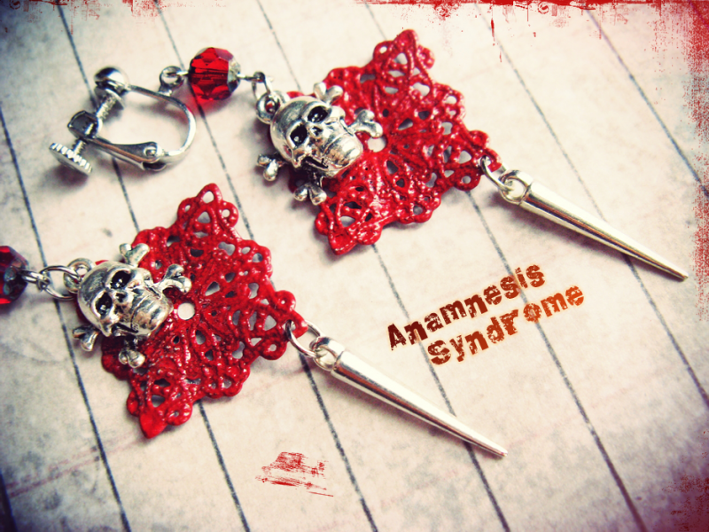 Red Blood Halloween Skull earrings for sale by Verope's Anamnesis Syndrome at MoreThanHorror.com