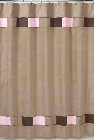 Soho Pink And Brown Kids Bathroom Fabric Bath Shower Curtain By Sweet Jojo Designs