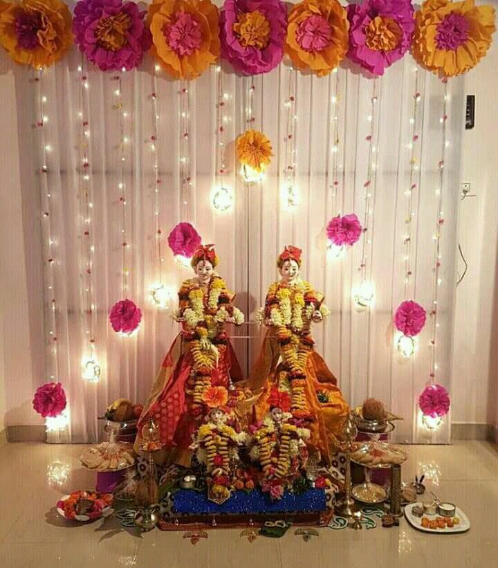 Pin By Sarika On Ceremony Decorations With Images Goddess Decor Ganpati Decoration Design Home Wedding Decorations