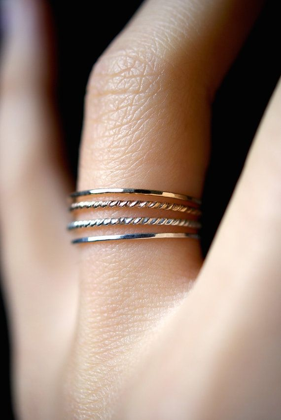 Ultra Thin Gold and Silver Twist stacking rings set of 4, 14K gold ...