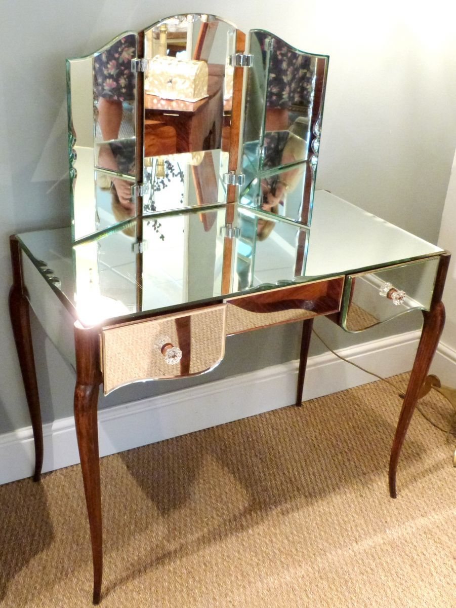 Art Deco Dressing Table With Mirror   French Art Deco Mirrored Dressing  Table   Stock
