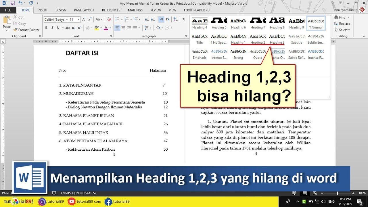 Cara Menampilkan Heading 123 Yang Hilang Di Word Tutorial89 Tutorial Microsoft Word Di Video Ini Kita Akan Belajar Bagaimana Cara M Microsoft Belajar Video