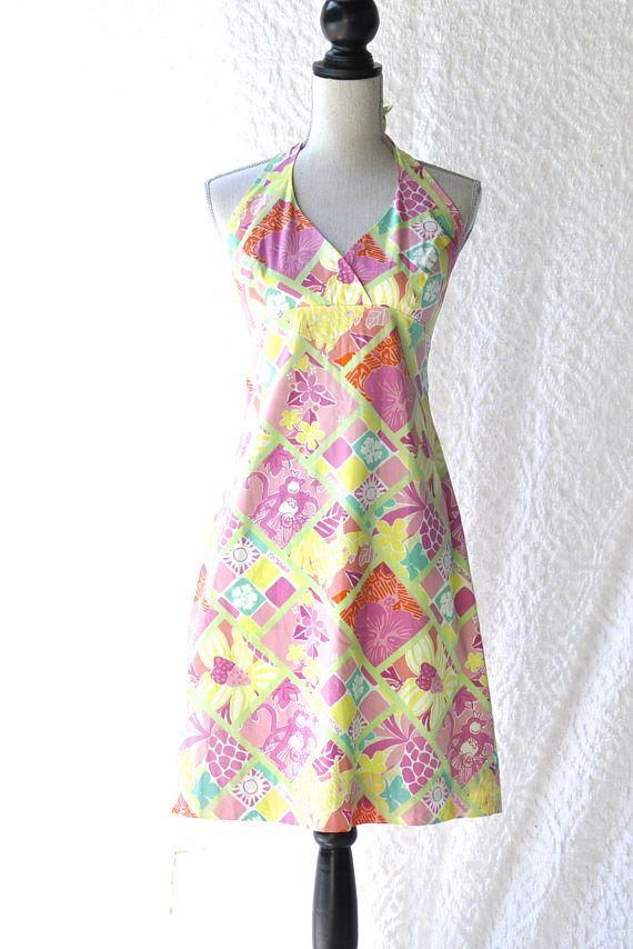 90s Lilly Pulitzer Dress  Retro Halter Dress. 90s Preppy