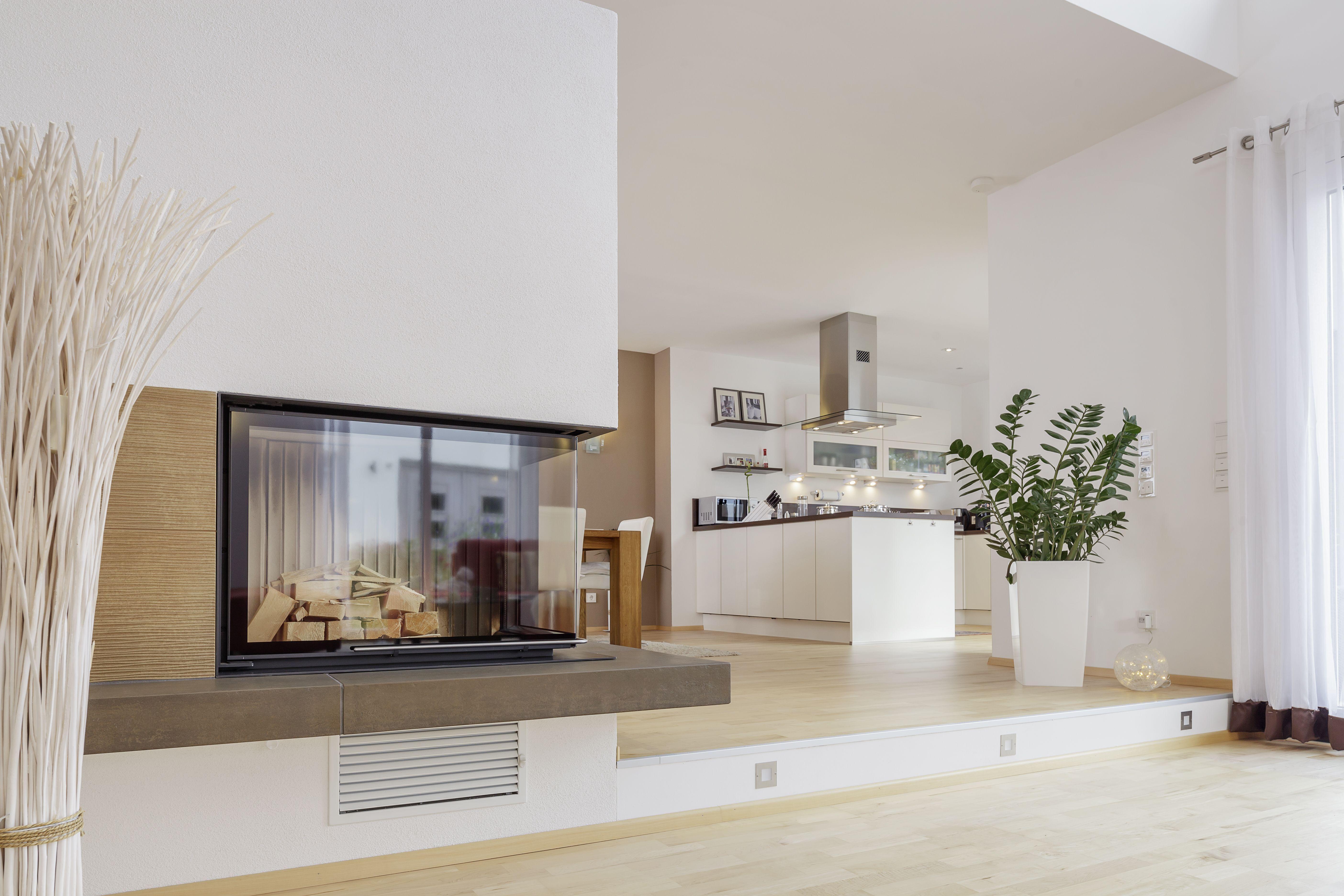 Kuche Wohnzimmer Stufe Moderni Unutarnji Kamini Living Room