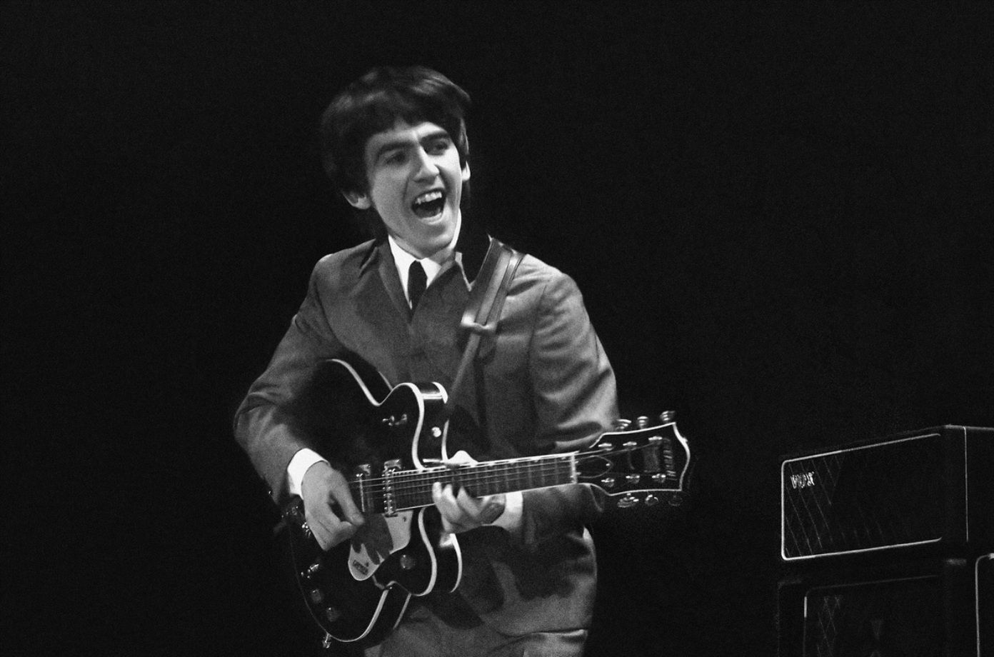 George Harrison during the Beatles first U.S. concert at the Washington Coliseum, February 11, 1964.