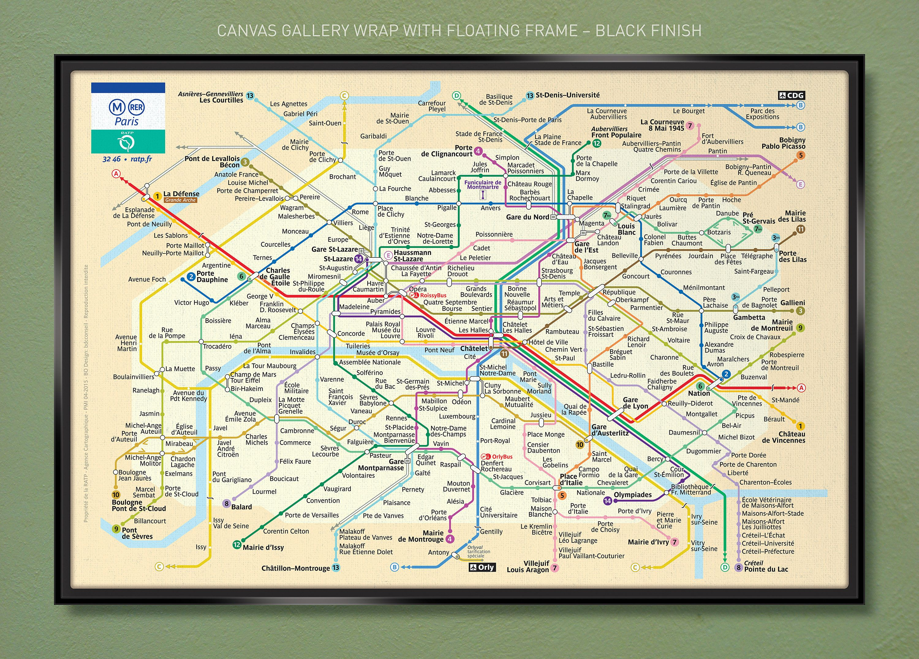 Paris Métro Map (2015) 18x12 30x20 & 36x24 Canvas Wrap w