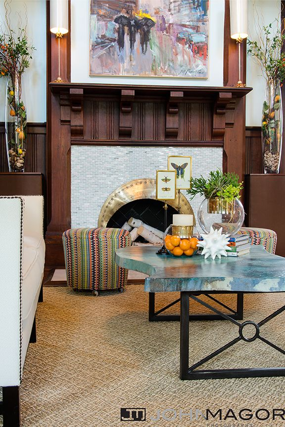 2017 Richmond Symphony Designer House The Great Room Designed By Jennifer Stoner Interiors Custom Acid Washed Concrete Tail Table Was A