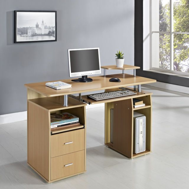 Computer desk pc table home office furniture black white for Computer desk furniture