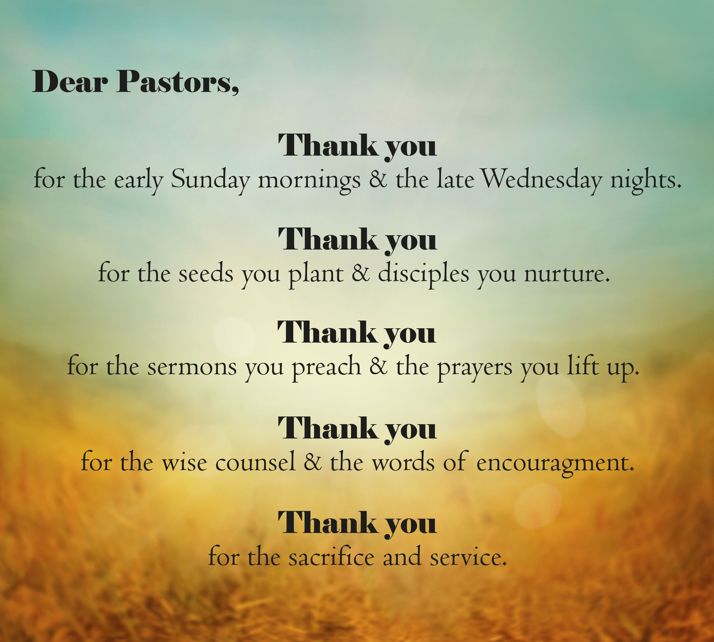 Have you said Thank You to your pastor recently? | Pastor ...