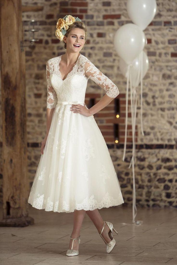 Ideen 14 Stil Brautkleider 14er Jahre Stil Brautkleider Tee Länge