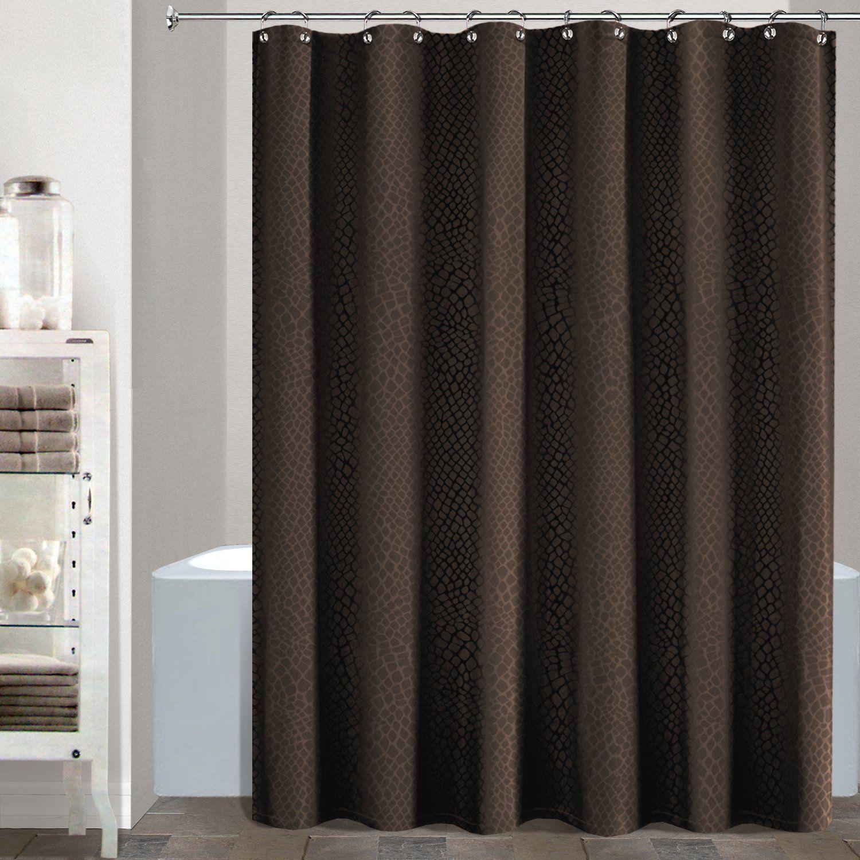 Gator Heavy Faux Croc Crocodile Skin Fabric Shower Curtain 70 By 72 Inch Brown