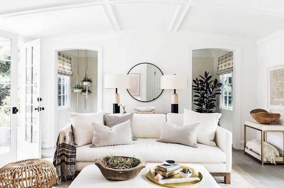 Domino Erin Featherstone Neutral Family Room White Family Room Modern Family Room White Sofa Living Room White Home Living Room Home