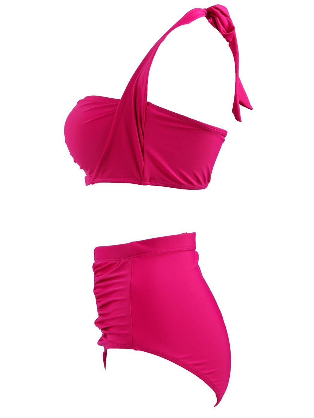 5481248057c71 HDE Women s Plus Size Retro Bikini Swimsuit Vintage High Waisted Pinup  Swimwear (Pink Halter