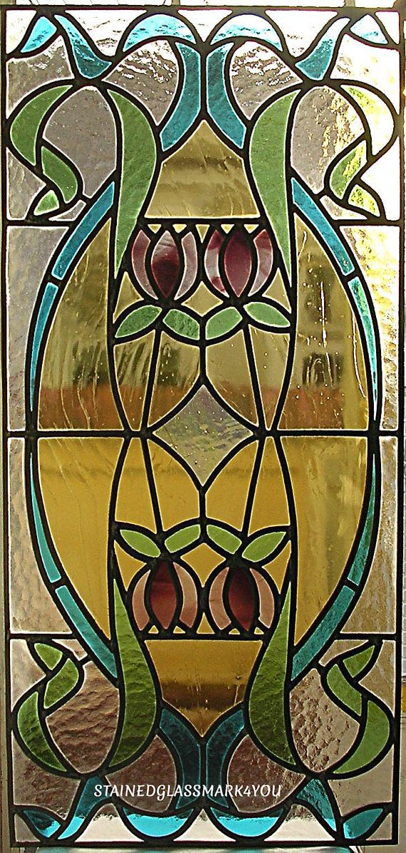 Tulip Stained Glass Door Panel Stained By Stainedglassmark4you