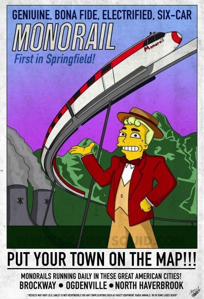 """PHOTOS: A """"Simpsons"""" spin on classic Disneyland monorail poster in this  genuine, bona fide new artwork 