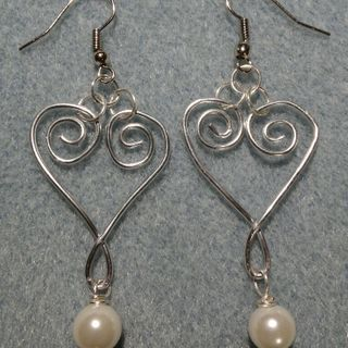 Wire Wrap Heart with White Glass Pearl Earrings. If interested contact me. $15.00 + $4.00 Shipping.