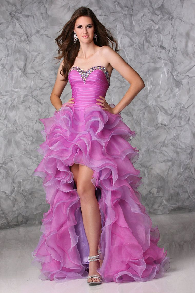 2013 Prom Dresses High Low Organza Sweetheart Sheath Rhinestone ...