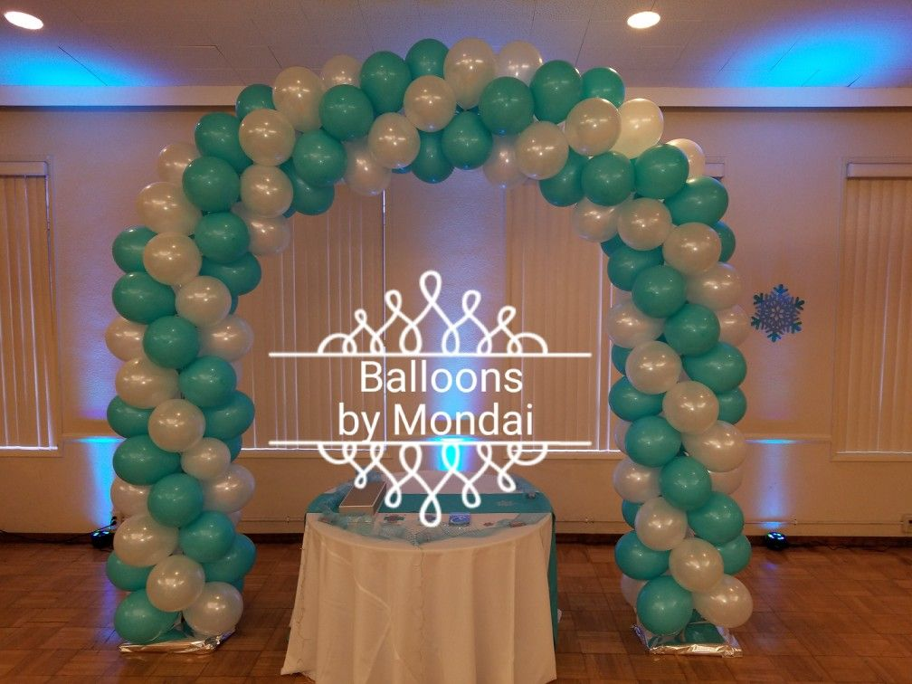 Winter 19th Birthday Party Full Arch Pearl White, Aqua
