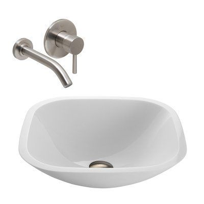 Vigo Vgt219 Square Shaped White Phoenix Stone Gl Vessel Sink With Wall Mount Faucet Brushed