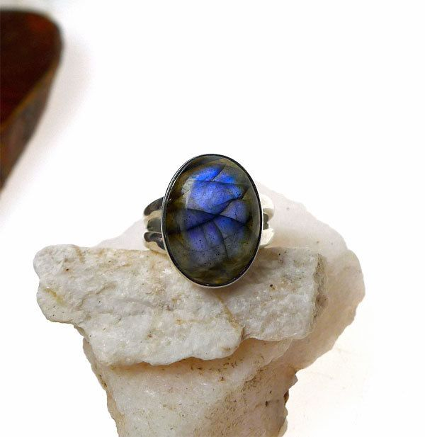 Labradorite Ring, Sterling Silver Labradorite Ring, .925 Silver Labradorite Ring, Labradorite Oval Gemstone Ring, US Size 6 by SilverEnchantments on Etsy