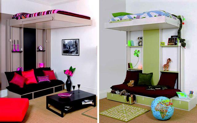 Como decorar espacios pequeños con camas en alto Decoracion