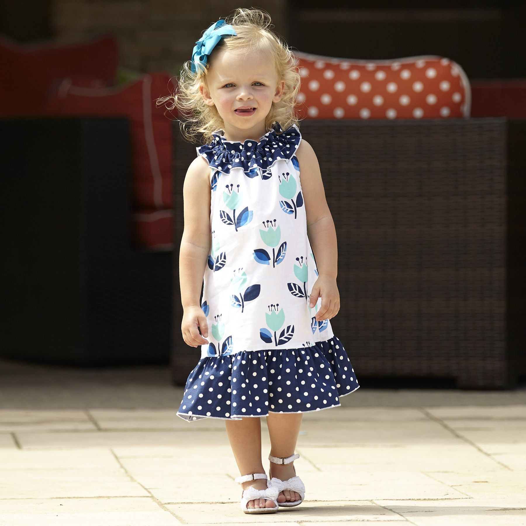 Girls Navy Aqua Tulip Dot Ruffle Neck Dress