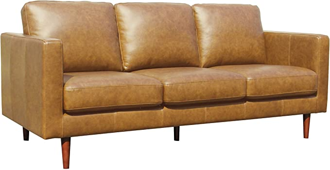 Amazon Com Amazon Brand Rivet Revolve Modern Leather Sofa Couch 80 W Caramel Kitchen Din In 2020 Modern Leather Sofa Leather Sofa Couch Modern Leather Loveseat