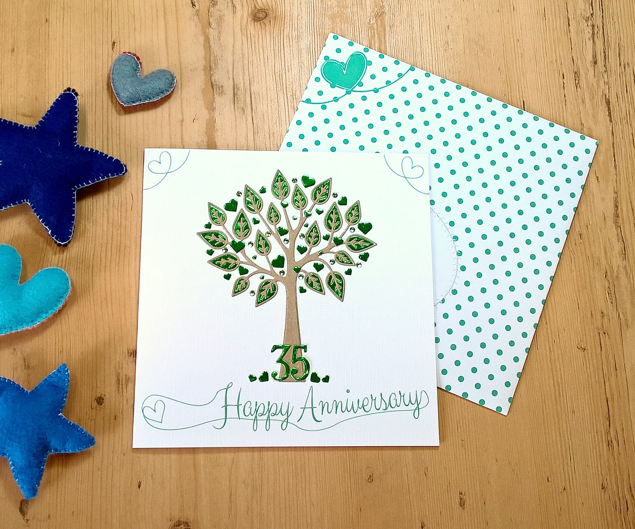 Emerald wedding anniversary card. 6 inch square. tree theme
