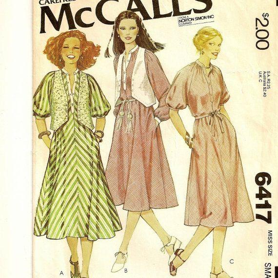 A Bias Cut Pullover Dress & Buttoned Vest Pattern, Vintage 1978