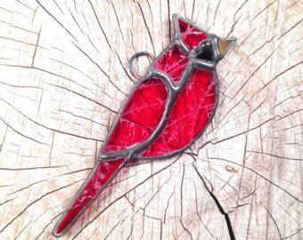 Stained Gl Bird Decor Red Gift By Sundogartandgl