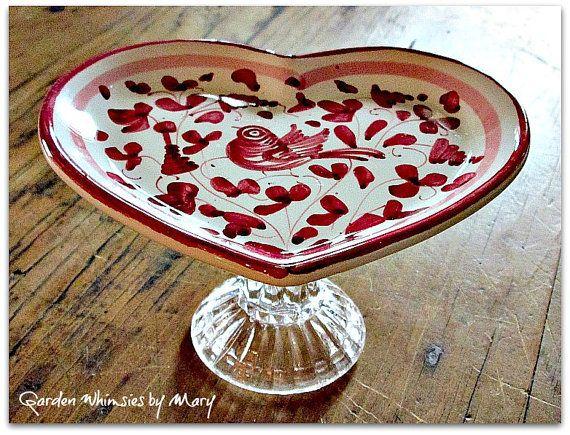 Vintage Italian Heart Dish / Jewlery by GardenWhimsiesByMary, $20.00
