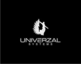 UNIVERZAL System Logo Design   Illustration Logo Using A Woman Figure, A  Wing And A