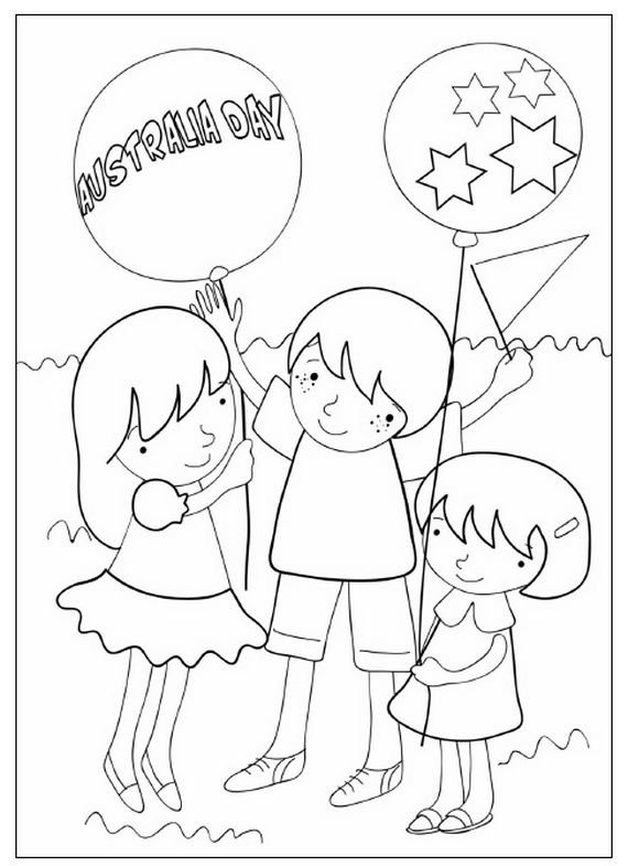 Australia Day Coloring Pages for Kids | coloring pages | Pinterest ...