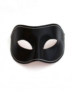 Men's Black & White Leather Handstitched Leather Venetian Masquerade Mask