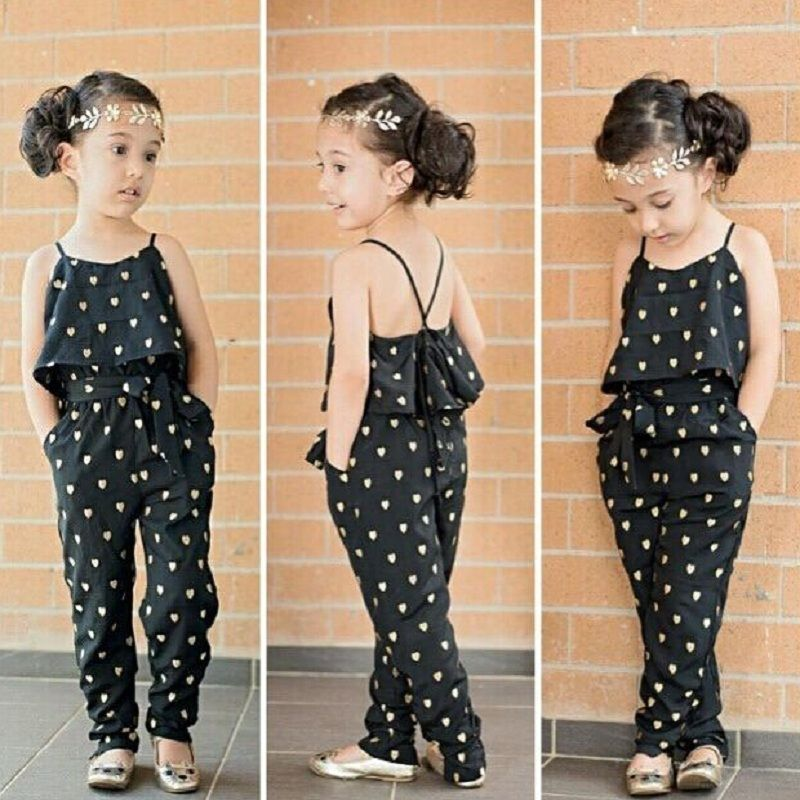 afffe9a2866e 2017 Fashion Kids Baby Girls Clothes Sleeveless Jumpsuit Trousers Romper  Outfits Summer Clothes for Little Girls