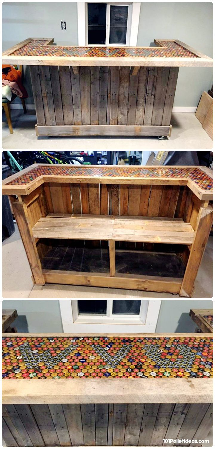 pallet bar. pallet-bar-with-colorful-top-installed-with-old- pallet bar