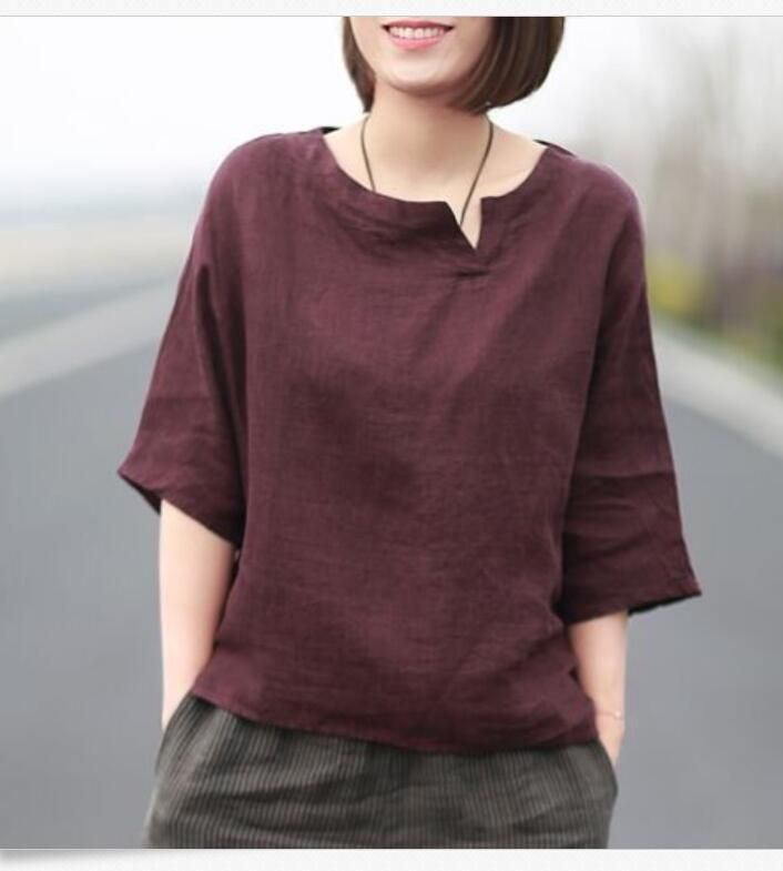 Women Chinese Style Vintage Summer Casual Loose T-Shirt Blouse Cotton Linen Tops – Emma Summer Fashion