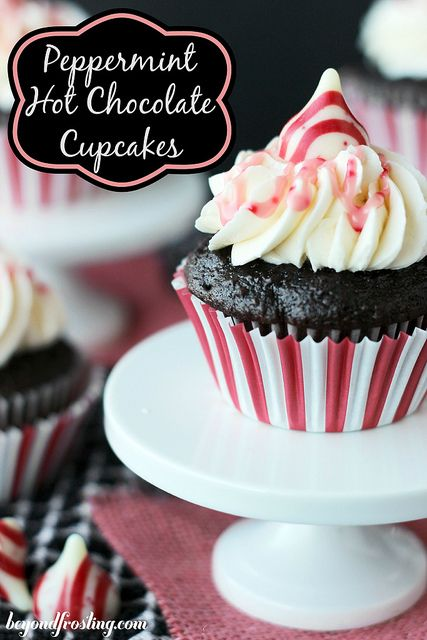 Peppermint Hot Chocolate Cupcakes with Marshmallow Filling