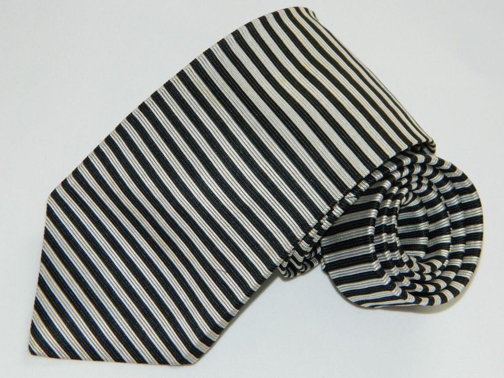 Mens Brooks Brothers Makers striped Black Silk Neck tie