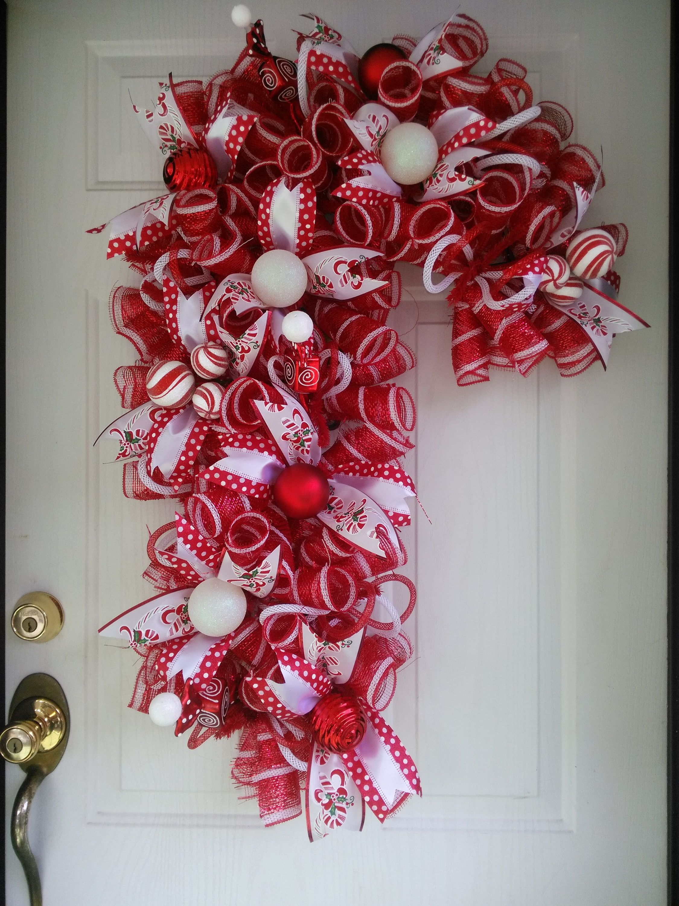 Candy Cane Wreath Christmas Wreath Front Door Wreath