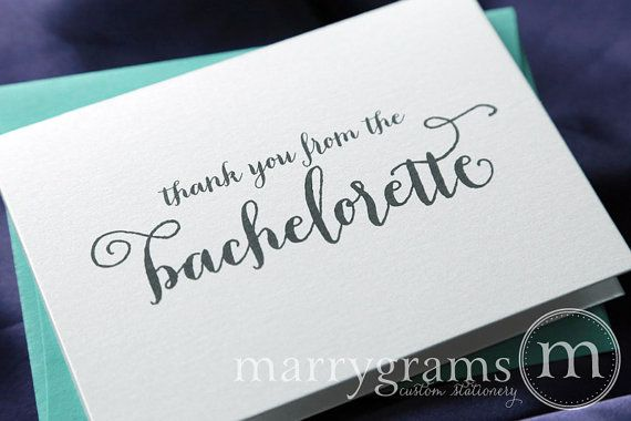Bachelorette Party Thank You Card Engagement Bridal By Marrygrams