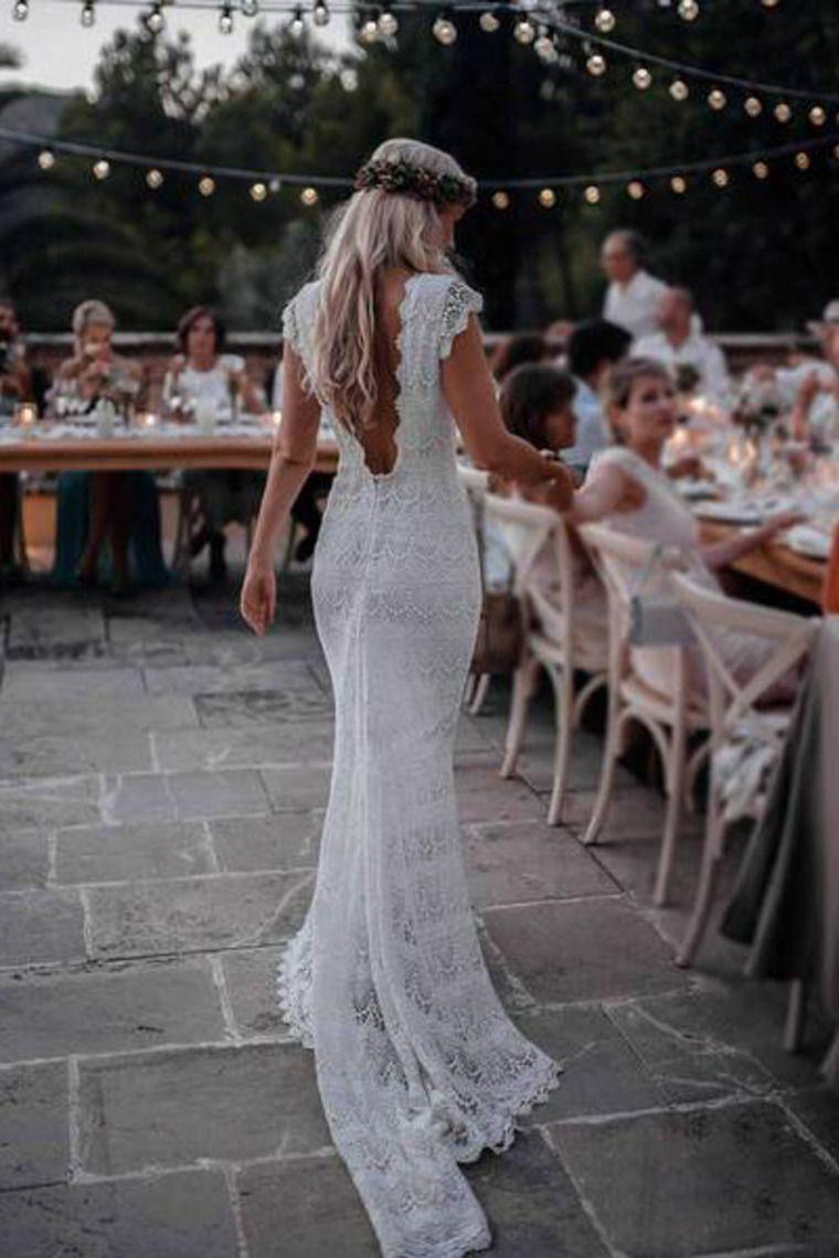 Backless Lac Meerjungfrau Brautkleider Flügelärmeln böhmischen Brautkleid