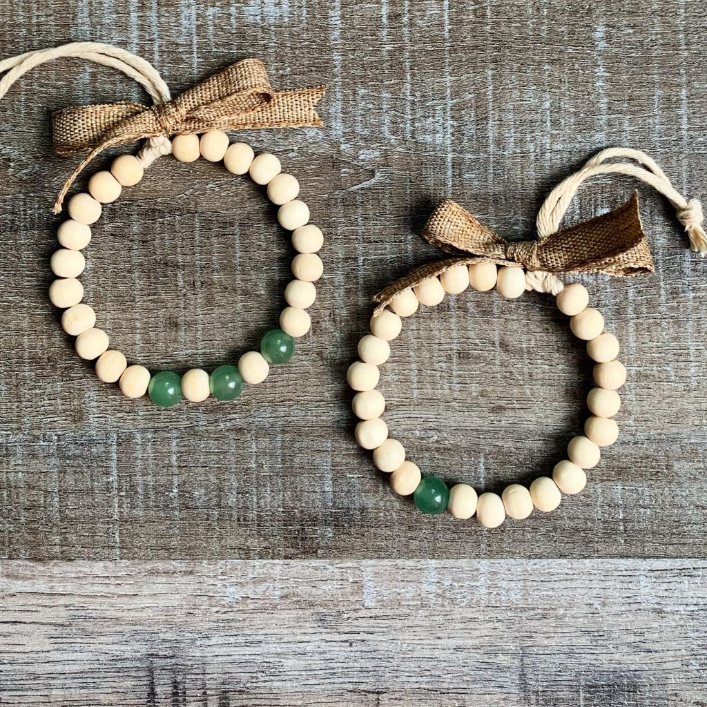 Mini Farmhouse Wood Bead Wreath Ornaments Wood Beads Christmas Crafts For Gifts Ornament Wreath