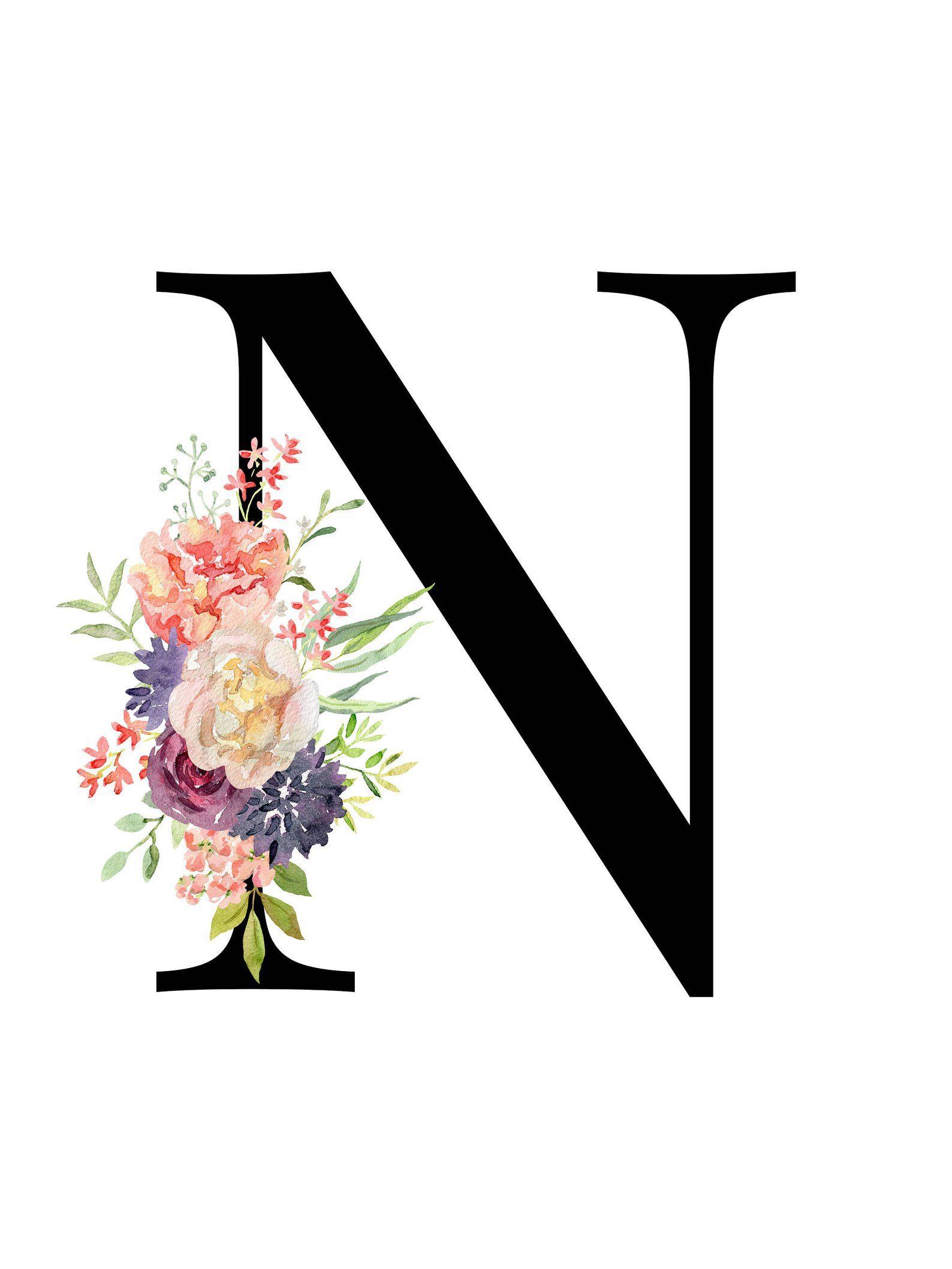 Letter N Floral Monogram Printable Letter Nursery Art Etsy Harfleme Yaratici Fotografcilik Marka Tasarimi