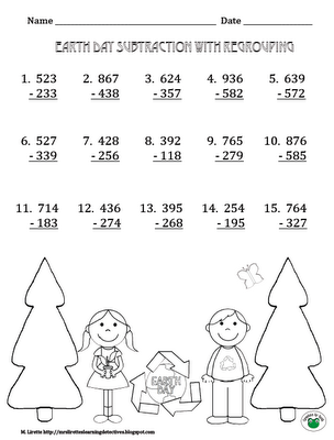 earth day subtraction practice free printables with and without regrouping secondgradesquad. Black Bedroom Furniture Sets. Home Design Ideas