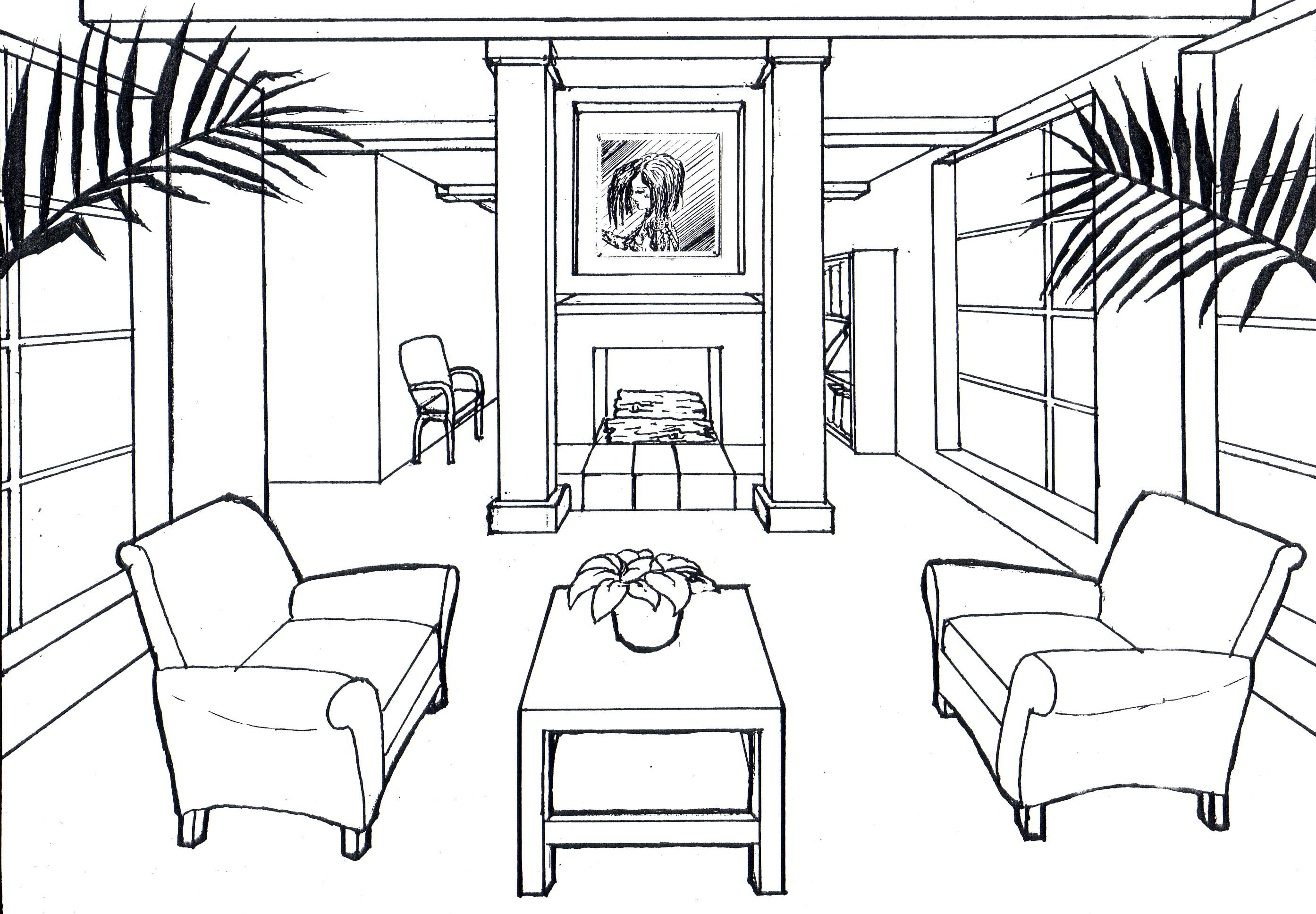 Google Image Result For Http Duffydey Com Images Drawings Perspective Drawings Onepoint Room Ink Jpg Perspective Room Perspective Drawing 1 Point Perspective