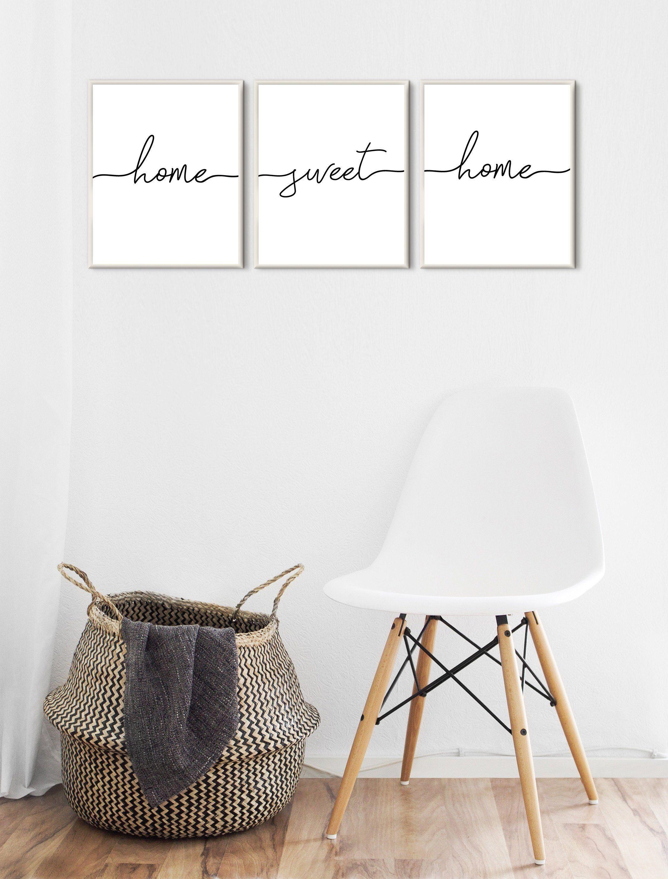 home sweet home print wall art set of 3, wall decor living room modern, Scandinavian print minimalist, gallery wall printable, hallway print images