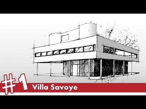 Architectural Drawings Of Famous Buildings villa savoye perspective drawing #1   famous architecture